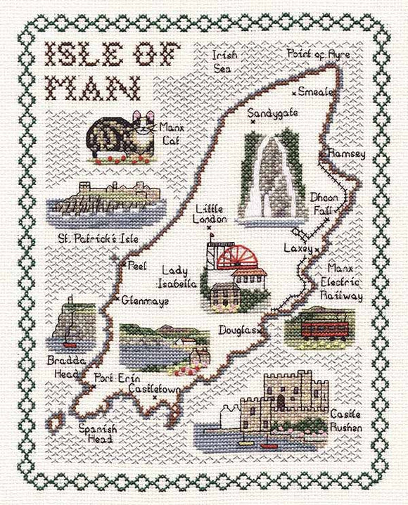 Isle of Man Map Cross Stitch Kit by Classic Embroidery