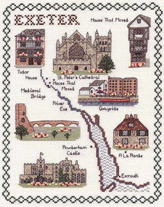 Exeter Map Cross Stitch Kit by Classic Embroidery