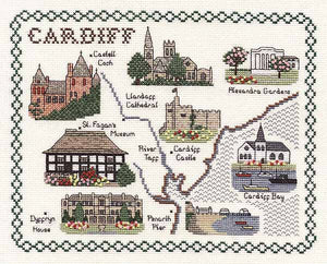 Cardiff Map Cross Stitch Kit by Classic Embroidery