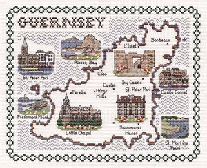 Guernsey Map Cross Stitch Kit by Classic Embroidery