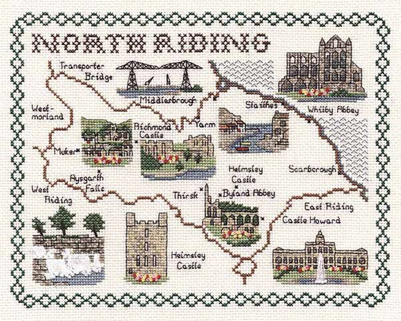 North Riding of Yorkshire Map Cross Stitch Kit by Classic Embroidery