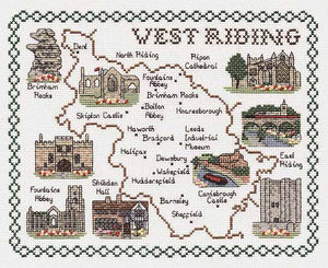 West Riding of Yorkshire Map Cross Stitch Kit by Classic Embroidery