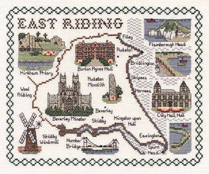 East Riding of Yorkshire Map Cross Stitch Kit by Classic Embroidery