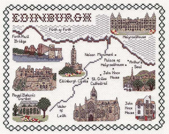 Edinburgh Map Cross Stitch Kit by Classic Embroidery