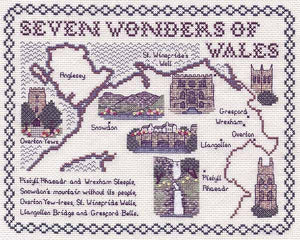 Seven Wonders of Wales Map Cross Stitch Kit by Classic Embroidery