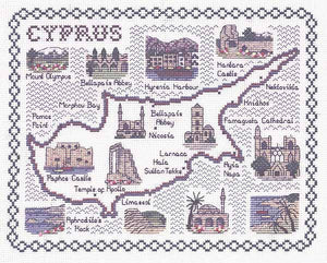 Cyprus Map Cross Stitch Kit by Classic Embroidery