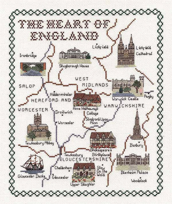Heart of England Map Cross Stitch Kit by Classic Embroidery