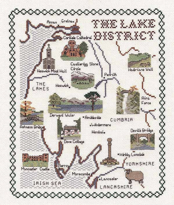 Lake District Map Cross Stitch Kit by Classic Embroidery