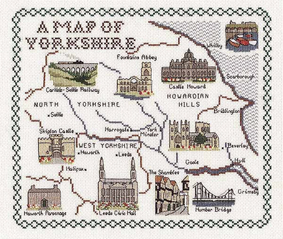 Yorkshire Map Cross Stitch Kit by Classic Embroidery