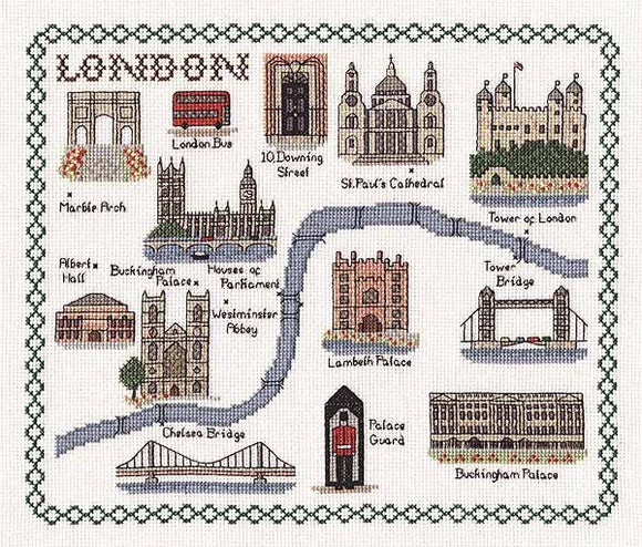 London Map Cross Stitch Kit by Classic Embroidery