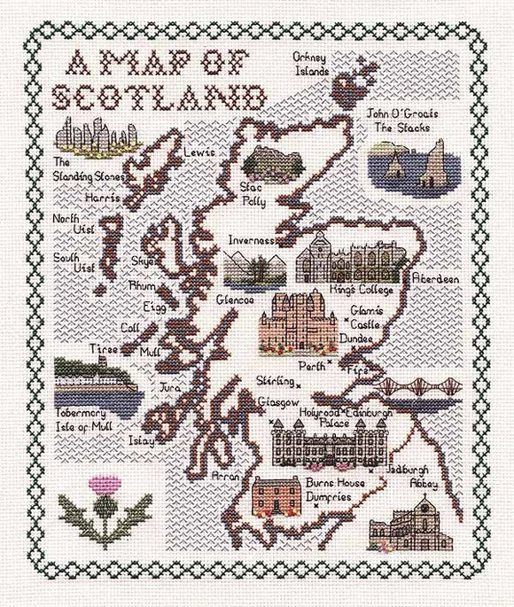Scotland Map Cross Stitch Kit by Classic Embroidery