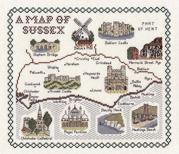 Sussex Map Cross Stitch Kit by Classic Embroidery