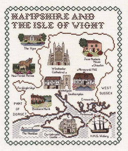 Hampshire and the Isle of Wight Map Cross Stitch Kit by Classic Embroidery