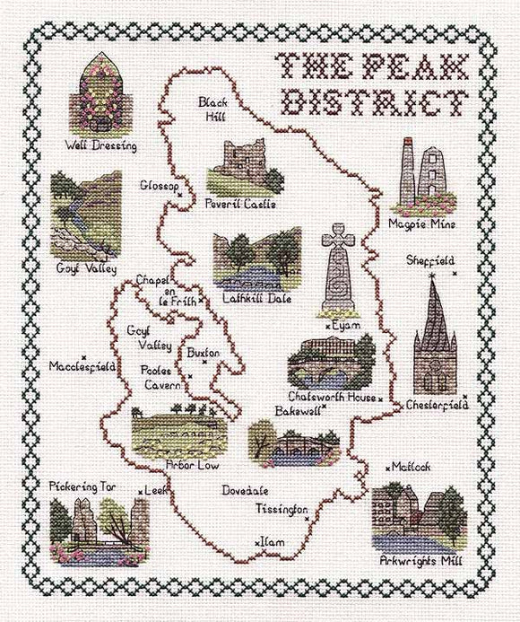 Peak District Map Cross Stitch Kit by Classic Embroidery