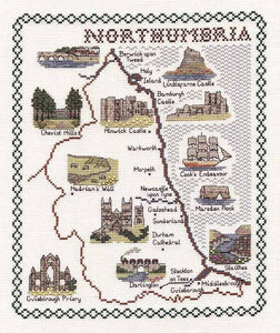 Northumbria Map Cross Stitch Kit by Classic Embroidery