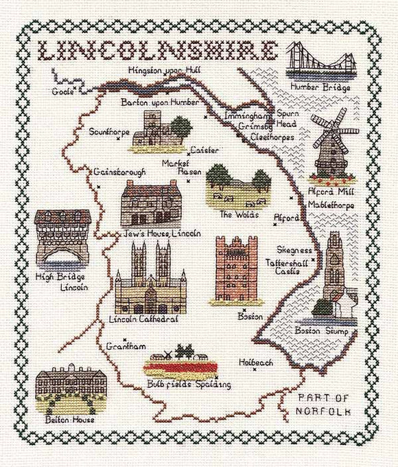 Lincolnshire Map Cross Stitch Kit by Classic Embroidery