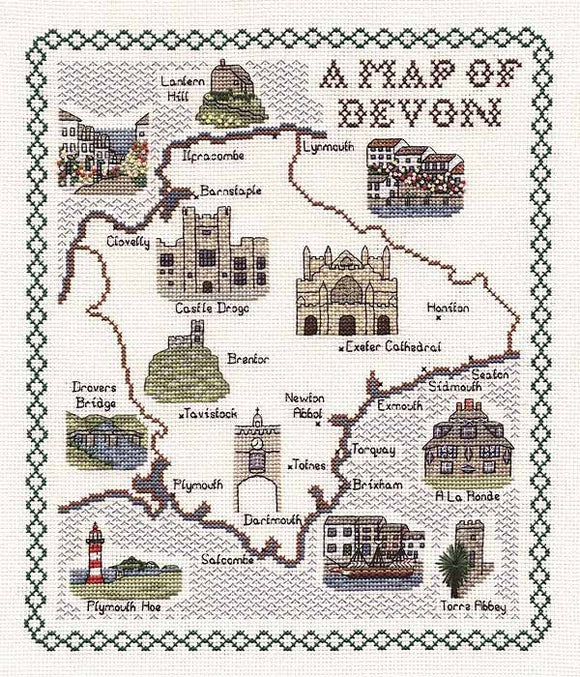 Devon Map Cross Stitch Kit by Classic Embroidery