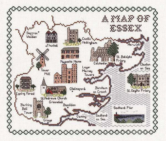 Essex Map Cross Stitch Kit by Classic Embroidery