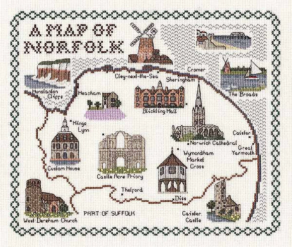 Norfolk Map Cross Stitch Kit by Classic Embroidery