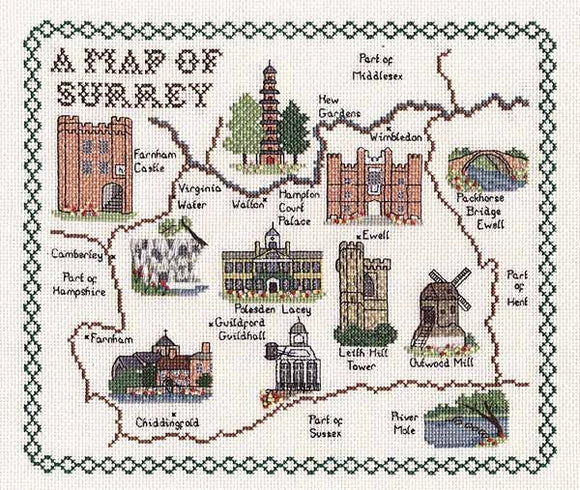 Surrey Map Cross Stitch Kit by Classic Embroidery