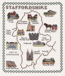 Staffordshire Map Cross Stitch Kit by Classic Embroidery