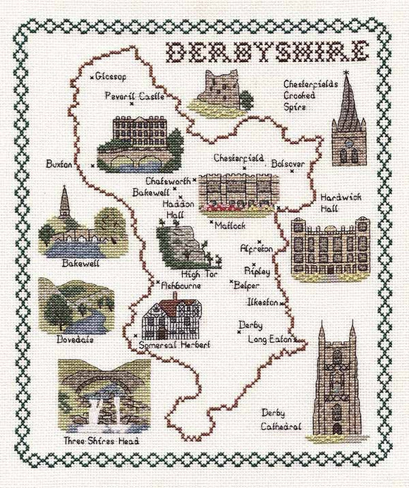 Derbyshire Map Cross Stitch Kit by Classic Embroidery