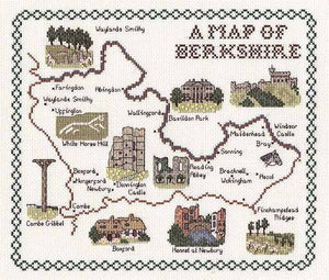 Berkshire Map Cross Stitch Kit by Classic Embroidery