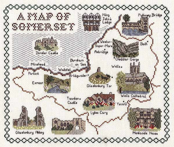 Somerset Map Cross Stitch Kit by Classic Embroidery