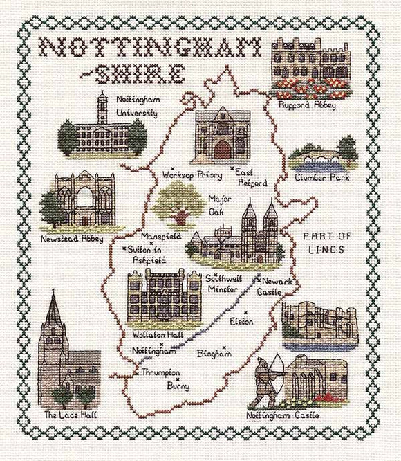 Nottinghamshire Map Cross Stitch Kit by Classic Embroidery