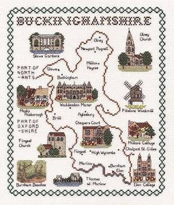 Buckinghamshire Map Cross Stitch Kit by Classic Embroidery