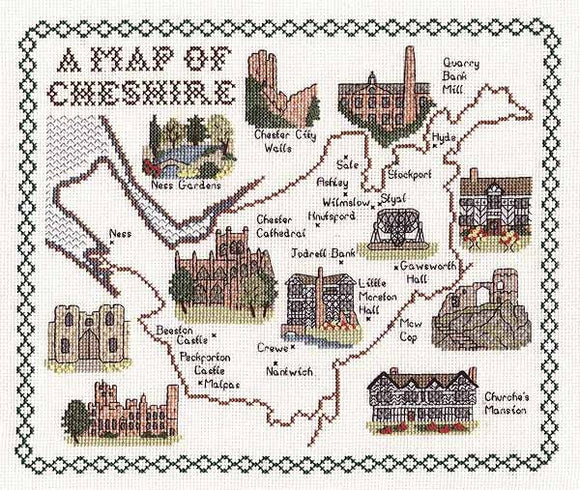 Cheshire Map Cross Stitch Kit by Classic Embroidery