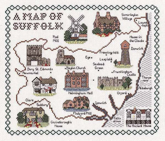Suffolk Map Cross Stitch Kit by Classic Embroidery