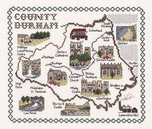 County Durham Map Cross Stitch Kit by Classic Embroidery