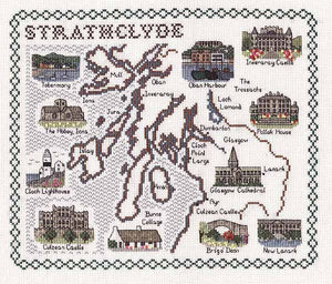 Strathclyde Map Cross Stitch Kit by Classic Embroidery