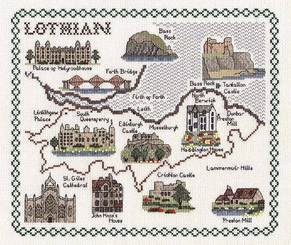 Lothian Map Cross Stitch Kit by Classic Embroidery