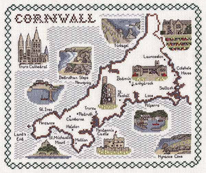 Cornwall Map Cross Stitch Kit by Classic Embroidery