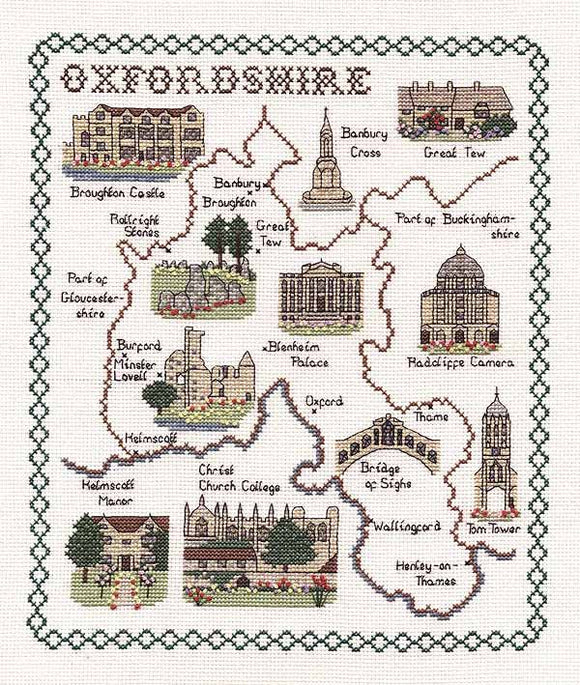 Oxfordshire Map Cross Stitch Kit by Classic Embroidery