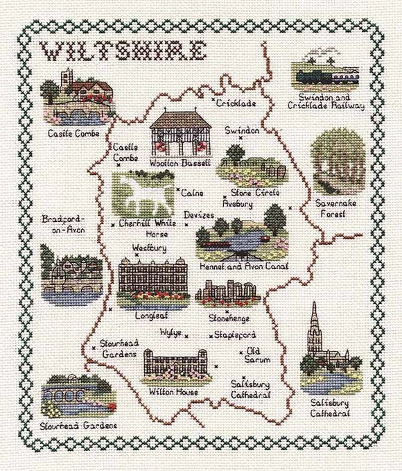 Wiltshire Map Cross Stitch Kit by Classic Embroidery