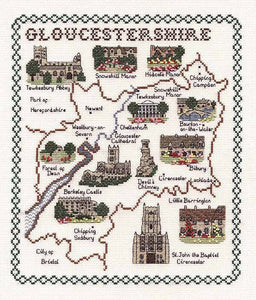 Gloucestershire Map Cross Stitch Kit by Classic Embroidery