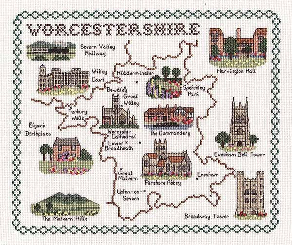 Worcestershire Map Cross Stitch Kit by Classic Embroidery