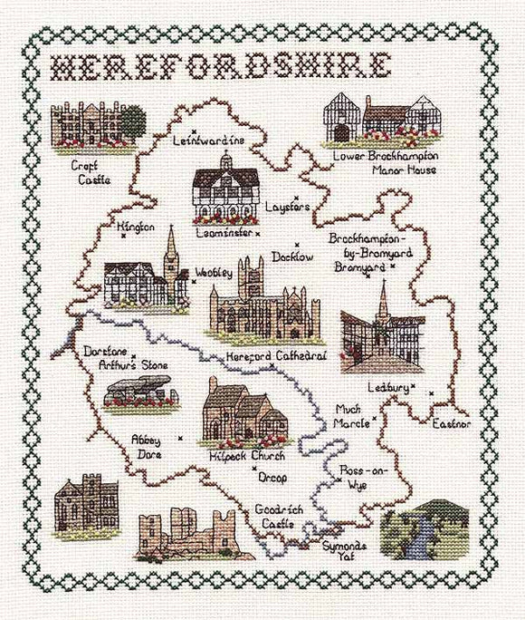 Herefordshire Map Cross Stitch Kit by Classic Embroidery