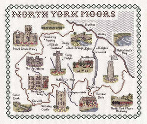 North Yorkshire Moors Map Cross Stitch Kit by Classic Embroidery