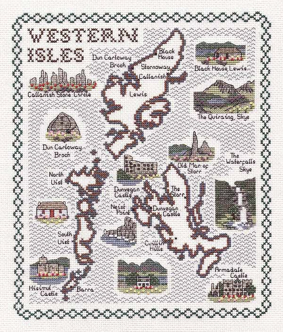 Western Isles Map Cross Stitch Kit by Classic Embroidery