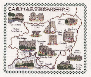 Carmarthenshire Map Cross Stitch Kit by Classic Embroidery