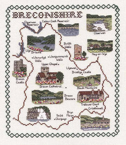 Breconshire Map Cross Stitch Kit by Classic Embroidery