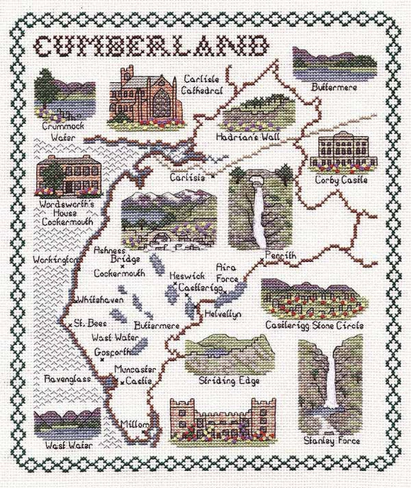 Cumberland Map Cross Stitch Kit by Classic Embroidery