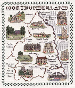 Northumberland Map Cross Stitch Kit by Classic Embroidery