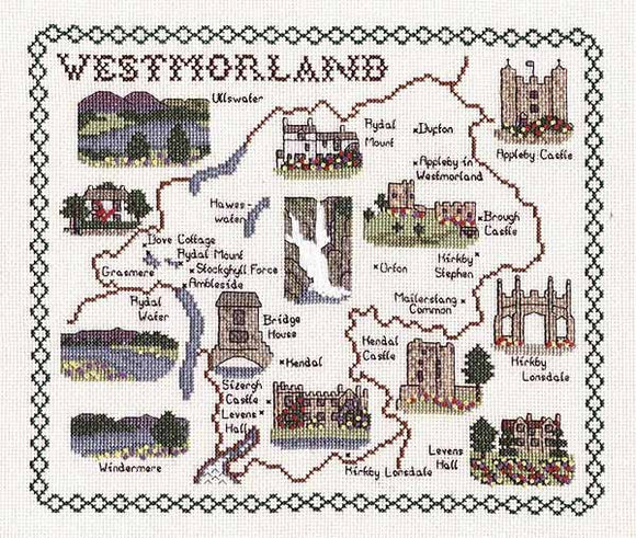 Westmorland Map Cross Stitch Kit by Classic Embroidery