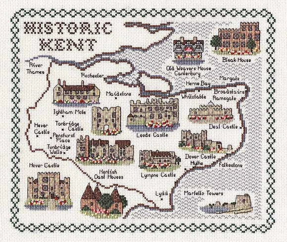 Historic Kent Map Cross Stitch Kit by Classic Embroidery