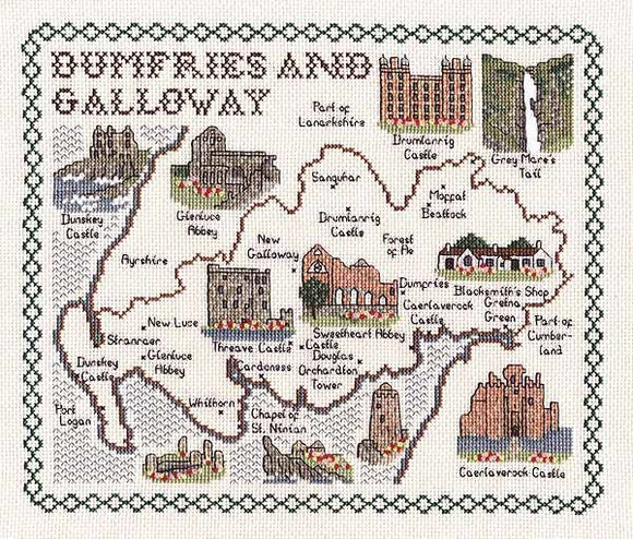 Dumfries and Galloway Map Cross Stitch Kit by Classic Embroidery